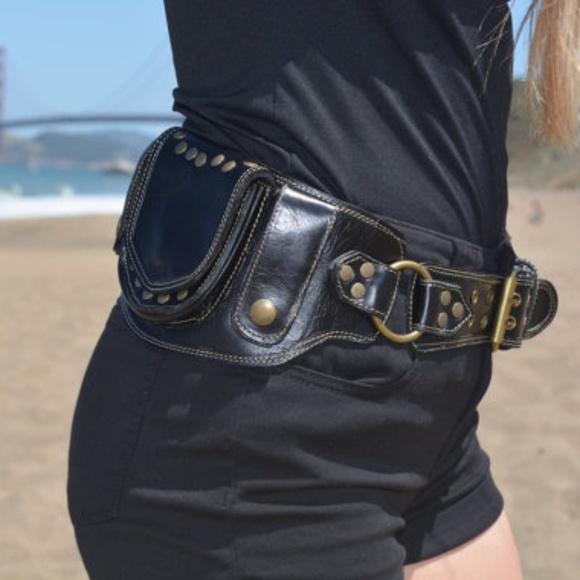 71570327fc7 Bags | Black Leather Sycamore Pocket Belt Belt Bag | Poshmark